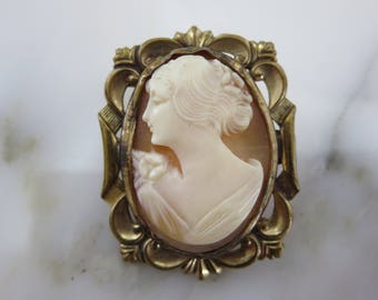 Cameo Brooch  - Cameo Carved Shell 10k Gold Fill