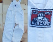 Vintage Overalls  // Vtg BEN DAVIS Union Made in the Usa Distressed Off White Bibs