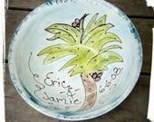 Palm tree Beach wedding bowl Custom bride groom xlarge serving bowl mixing bowl wedding bowl gift personalized bowl 9th anniversary pottery