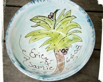 Palm tree Beach wedding bowl Custom bride groom xlarge serving bowl mixing bowl wedding bowl gift personalized bowl 9th anniversary pottery