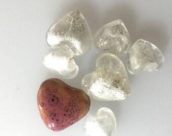 OnSale Venetian Silver Lined Glass Hearts #2