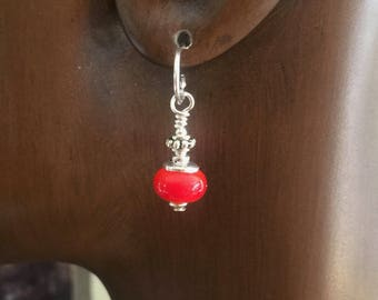 Earrings Glass Lamp Work Small Red and Sterling Silver