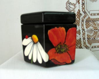 Mini Two Piece Ceramic African Violet Pot Self Watering Spring Flower, Red Poppy, White Daisy, Ladybug Motif Six Sided Planter on Etsy
