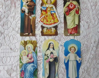 England Vintage Religious Mary Jesus Lithographed Die Cut Paper Scraps Out Of Print  1400