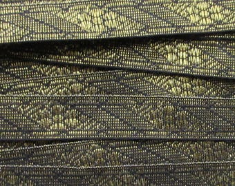 Fancy Gold And Black Metallic Sewing Trim Ribbon Passamenterie 1 Yard  VT 38