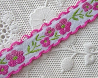 3 Yards Folkloric Woven Jacquard Ribbon Floral Scallop Edge Trim 1/2 Inch Wide HG08