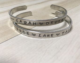 Family Bracelet, Bible Quote Jewelry, Thin Inspirational Cuff Bracelet, Silver Aluminum Bracelet, Hand stamped, Personlized jewelry