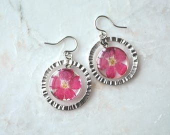 Pink Verbena Earrings, Pressed Flower Jewelry, Botanical Jewelry