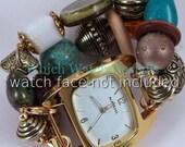 Türkis Schatz... Grobstrick Türkis, weiß, olivgrün, braun und Gold austauschbaren Perlen Armband