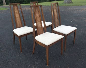 4 mid century modern walnut tall back cane dining chairs