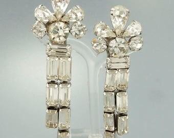 Vintage Weiss Rhinestone Earrings Big Statement Clip Earrings