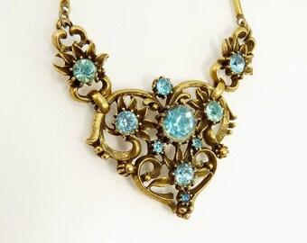 Vintage Coro Aqua Rhinestone Necklace Wedding Bridal Statement