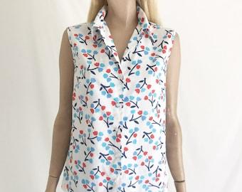 Vintage 60's Mod Sleeveless Cotton Blouse