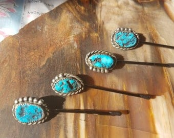 Pilot Mountain Vintage Turquoise and Sterling Silver Hair Pin (Hairpin)