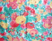 Vintage Fabric, 1 Yard of  Vintage  Floral Design Cotton, Garden Flowers in Rose, Yellow, Green for Quilting, Apparel, Sewing Projects