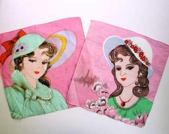 Two Vintage 1970 Girl w Big Hat, Lots of Eye Makeup, Cotton Hankies in Bright PInk, Green, World Travel Girls Hankies