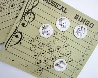 1940 Vintage Musical Bingo Game Cards and Circle DieCuts for Scrapbooks, Journal, Creative Use, Supplies, Paper Goods, 2 Large Cards