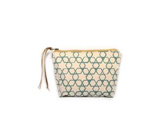 cosmetic pouch • geometric make up bag • aqua blue geometric print - waxed canvas - geometric print • large clutch - make up bag