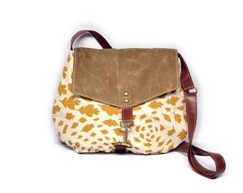satchel • waxed canvas crossbody bag - leaf print • hand printed natural canvas - mustard yellow leaf print - waxed canvas