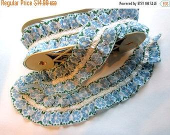 ON SALE- 7 yards vintage blue flower ruffle polyester trim kitsch