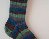 Handknitted Unisex Socks in Green, Blue and Brown