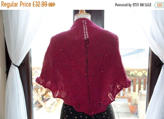 Christmas In July Handknitted Sequinned Shawl/Shawlette in Shades Red