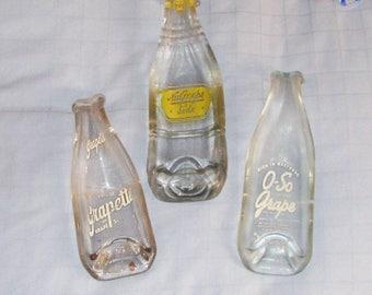 Vintage Grape soda pop bottle - NuGrape - O-So Grape - Grape-ette  bottle - spoonrest or dish - ashtray - upcycled bottle - melted bottle