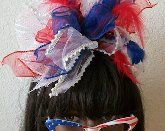 Patriotic 4th of July Red White and Blue One of a Kind Star  Headband, Feathers, Ribbons, Stars, Mesh netting