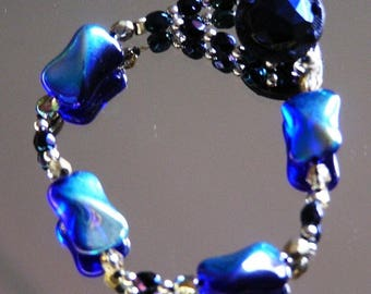 Midnight Blue Button Bracelet