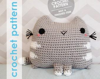 stuffed animal crochet pattern, crochet throw pillow, kawaii cute amigurumi cat kitty neko, crochet throw pillow pattern, kitty amigurumi