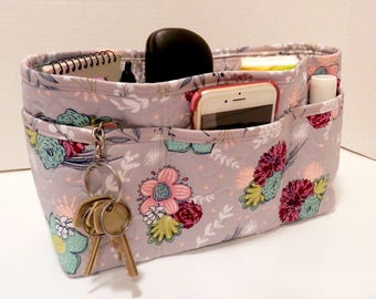 Quilted Purse Organizer Insert With Enclosed Bottom Large - Gray Floral