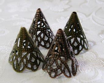 Antique Bronze or Copper Filigree Cone Bead Caps 22mm Long Nickel Free 339