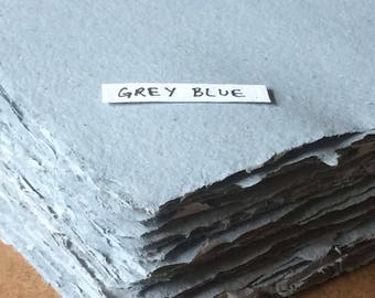 Grey blue paper, blue handmade paper, grey paper, eco friendly paper, recycled paper, textured paper, homemade paper, letterpress paper