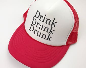Beer Hat, Drink Drank Drunk, Trucker Hat, Snapback, Adult Cap, Red and White, Merica, Patriotic, Summer Hat, America, Fourth of July