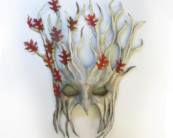 """Tree Leather Mask over 15"""" tall with Fabric Leaves white grey brown with reddish leaves very light and easy to wear & nice for display too"""
