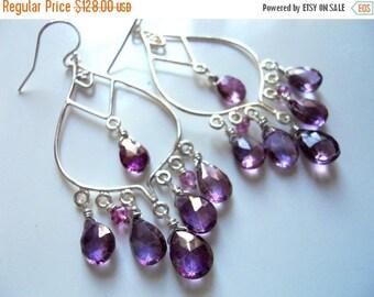 XMAS IN JULY 20% off, Large Boho Earrings, Sterling Silver Mystic Violet Pink Purple Quartz Chandeliers, Gemstone earrings, style : Wanderlu
