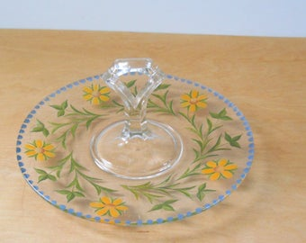 Vintage Handpainted Petifore Plate • 1930s Handled Etched Serving Plate • Clear Glue with Yellow Green and Blue Sandwich Plate