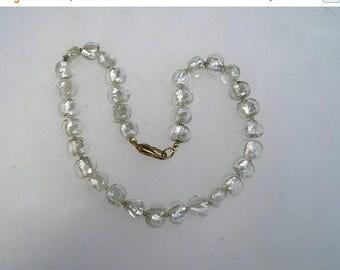 ON SALE Vintage Silver foiled Art Glass Lampwork necklace