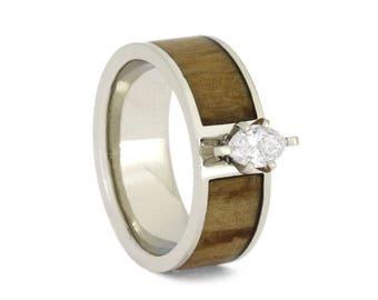 Marquise Diamond Engagement Ring, Rowan Wood Ring in 14k White Gold, Handmade Engagement Ring