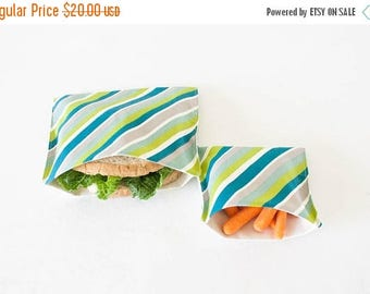 ON SALE PLASTIC-Free Teal Blue Stripe Sandwich and Snack Bags, Reusable, Organic Cotton, Eco Friendly - Set of 2
