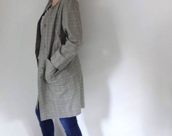 Vintage MODERN PLAID Trench • 1990s Clothing • Handmade Spring Coat Long Light Jacket Duster Check Green Neutral Button • Women Medium Large