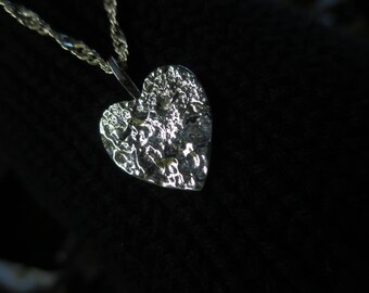 Textured Sterling Heart Pendant