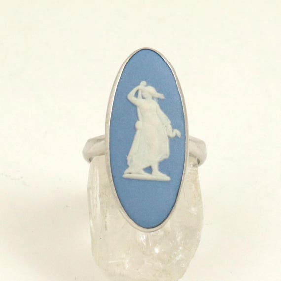 Vintage Wedgwood Blue Jasperware Cameo Ring