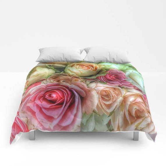ROSES Comforter, Petals Bedding, Flower bedding, Unique, Flower Comforter, Full, Queen, King, Retro, Dorm, Drama, Classic,Boudoir,Valentine