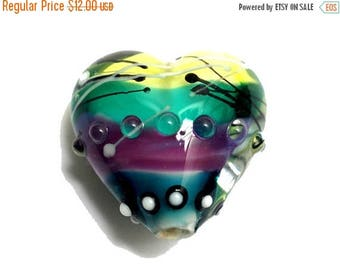 ON SALE 35% OFF New! Handmade Glass Lampwork Bead - 11837705 Begonia Stripes Heart