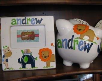 piggy bank and matching ceramic frame hand painted personalized andrew animals