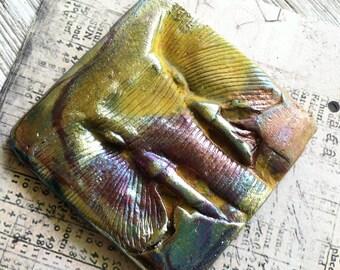 266. Wondrousstrange Raku Elephants Memory Porcelain Black Mustard Gold Silver Rust Cabochon