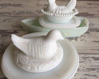 Milk Glass Box Lot - Broken Glass 3D Pieces Supplies Chicken Lid Hen Boat -For Mosaic Mixed Media Sculpture