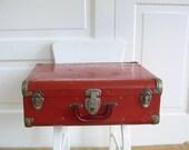 Vintage Suitcase, Red Suitcase, Metal Suitcase, Hard Suitcase, Vintage Red Case, Retro Suitcase, Roller skate Case, Roller Skate Suitcase