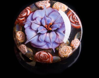 Artisan Purple Flower Lampworked Flamework Glass Paperweight